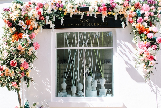 hermione harbutt, shop front, regent street, london, floral, swoonworthy, beautiful, summer, vibrant, colourful, inviting, jewellery, couture accessories, headpieces