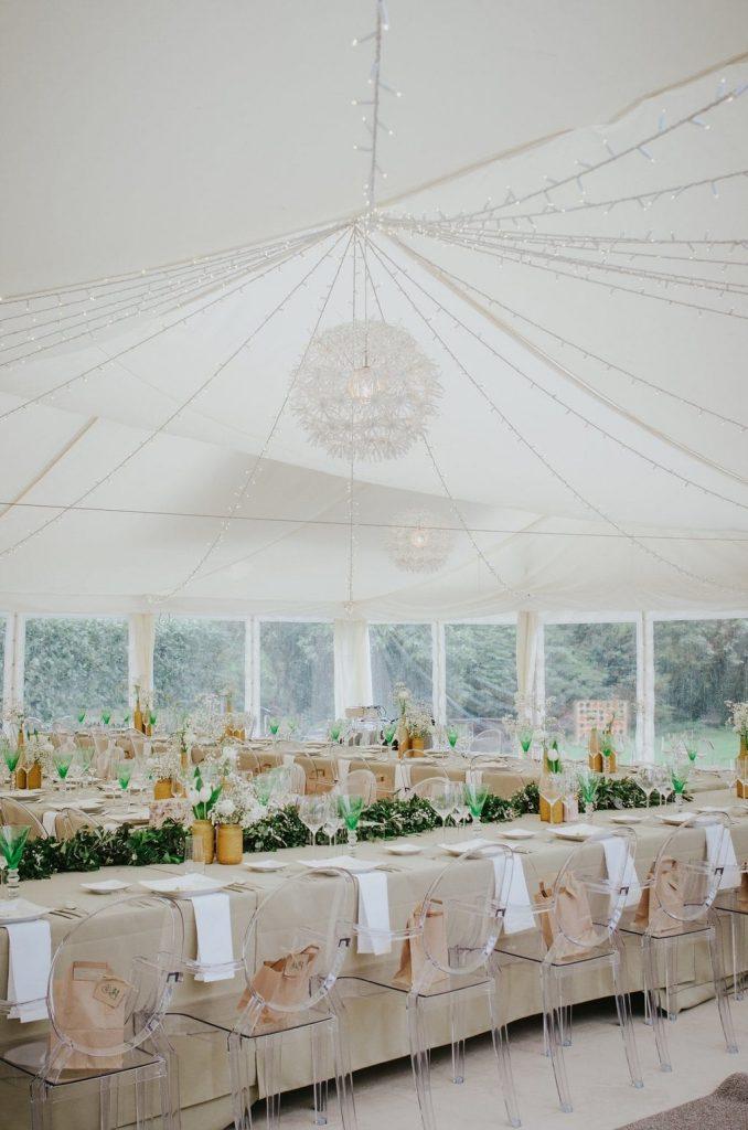 dartmoor wedding marquee long table wedding breakfast set up ghost chairs