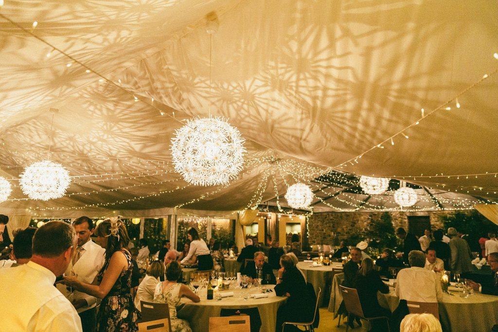 dartmoor wedding marquee interior shot of wedding breakfast with guests