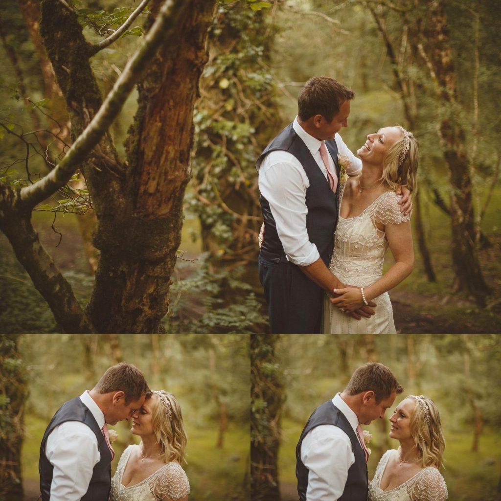 bride groom woodland wedding Devon venue