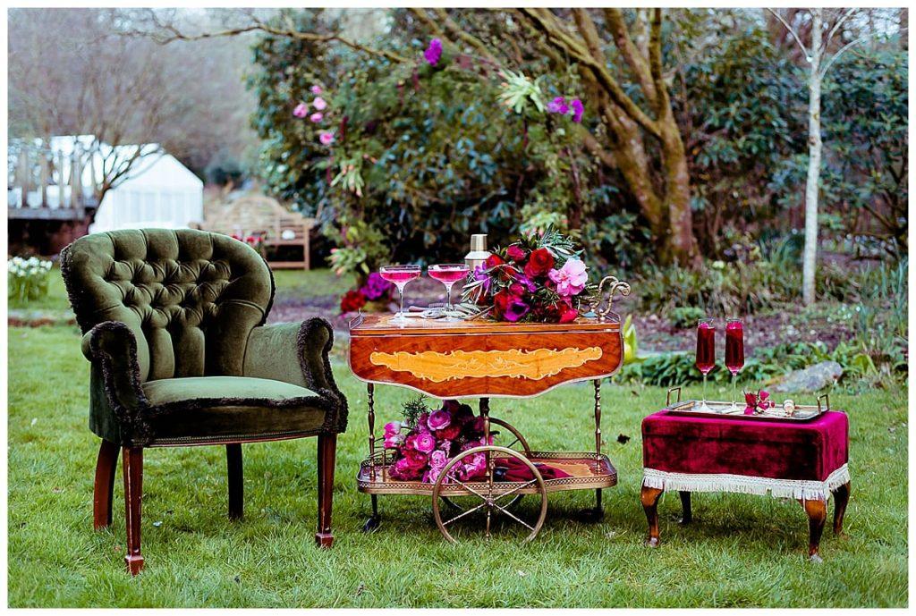 2 brides elopement shoot drinks trolley green velvet chair