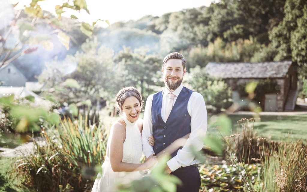 bride & groom out door wedding photography