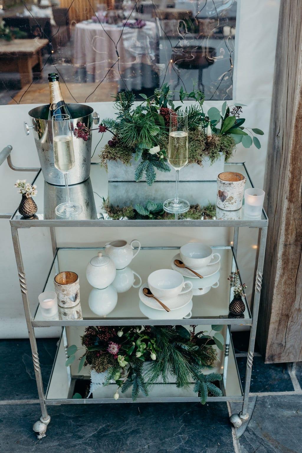 Small elopement wedding tricks trolley December decor