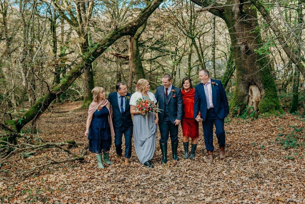 outdoor elopement wedding party photography