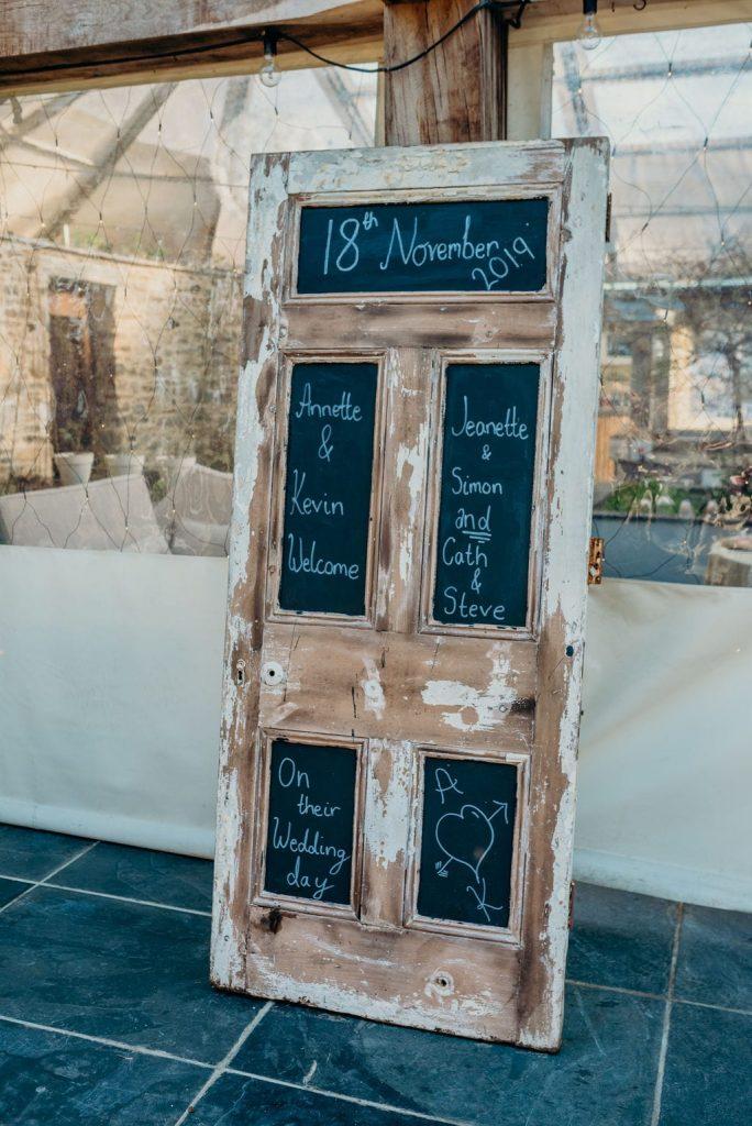 salvaged door wedding sign