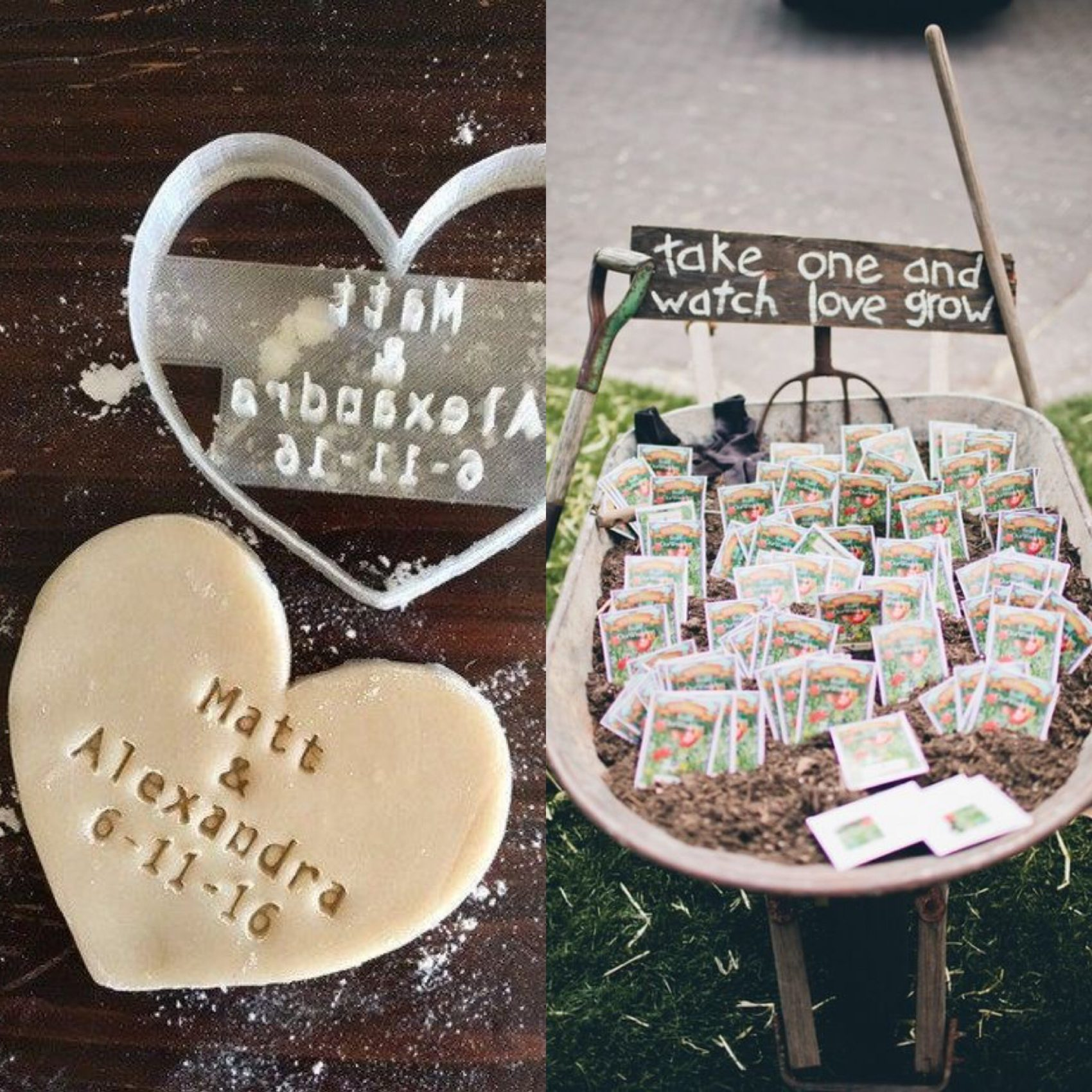 personalised cookie cutter, seeds in a barrow, wheel barrow, love grow, favours, thank you, guests, ever after, creative,