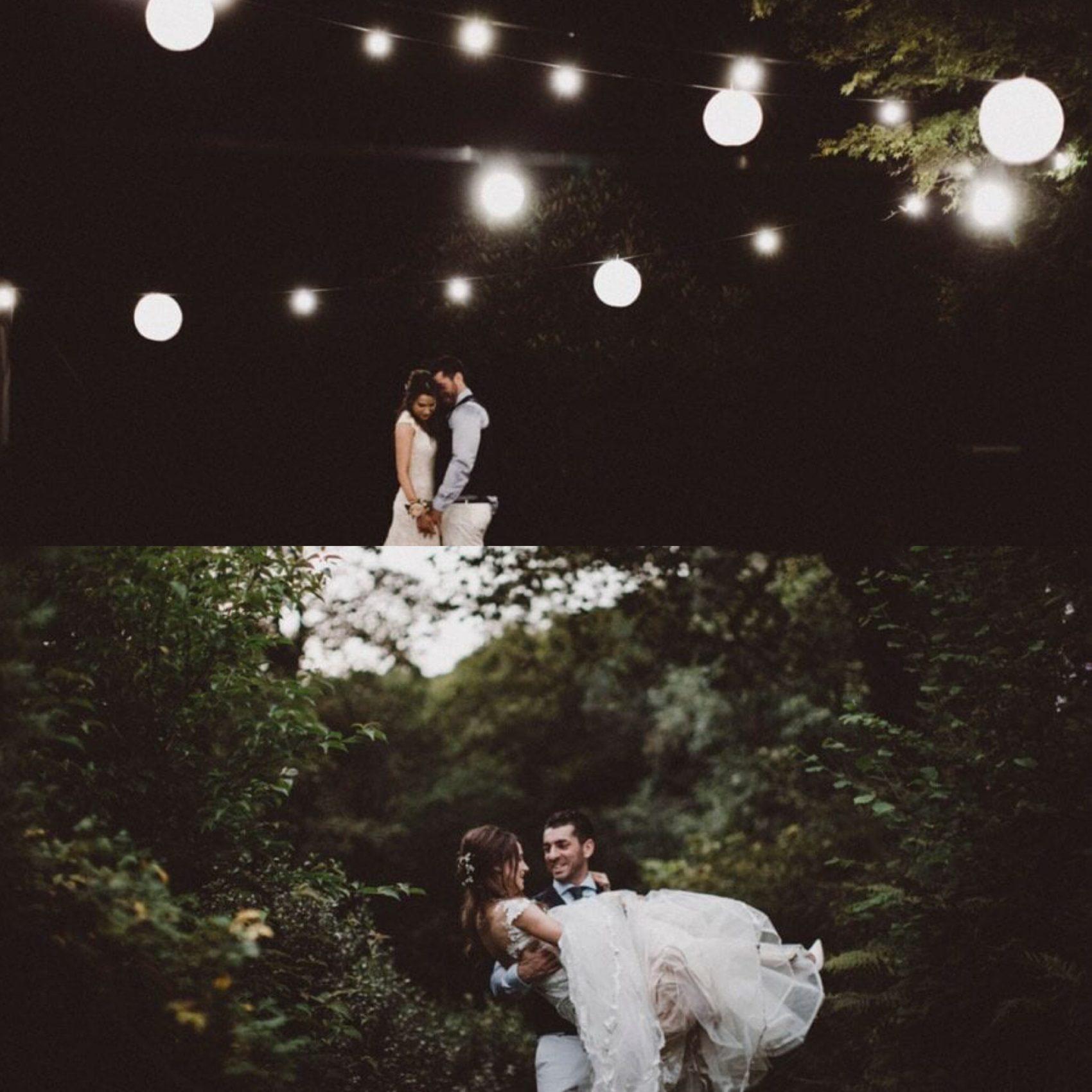 Moody, wedding, bride & Groom, filter, ever after, dark, lights, evening, night time, lower grenofen, woodland