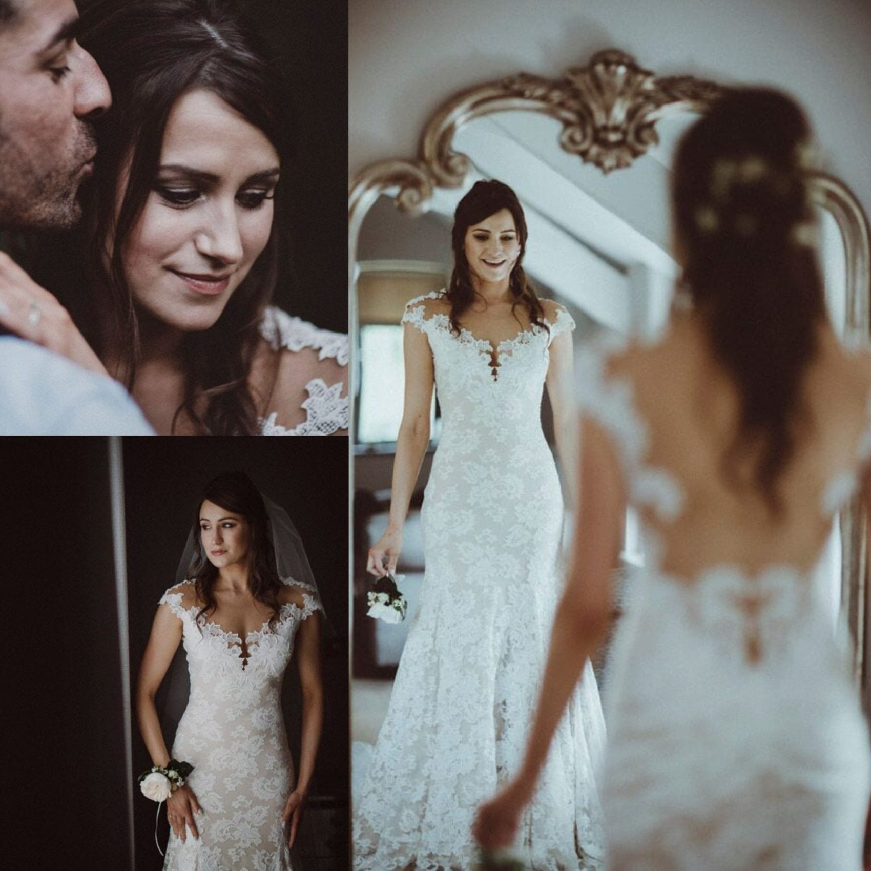 Details, beautiful, close ups, white dress, lace, low back, mirror, lighting, moody, wedding, ever after, lower grenofen, ben selway, couple, kiss