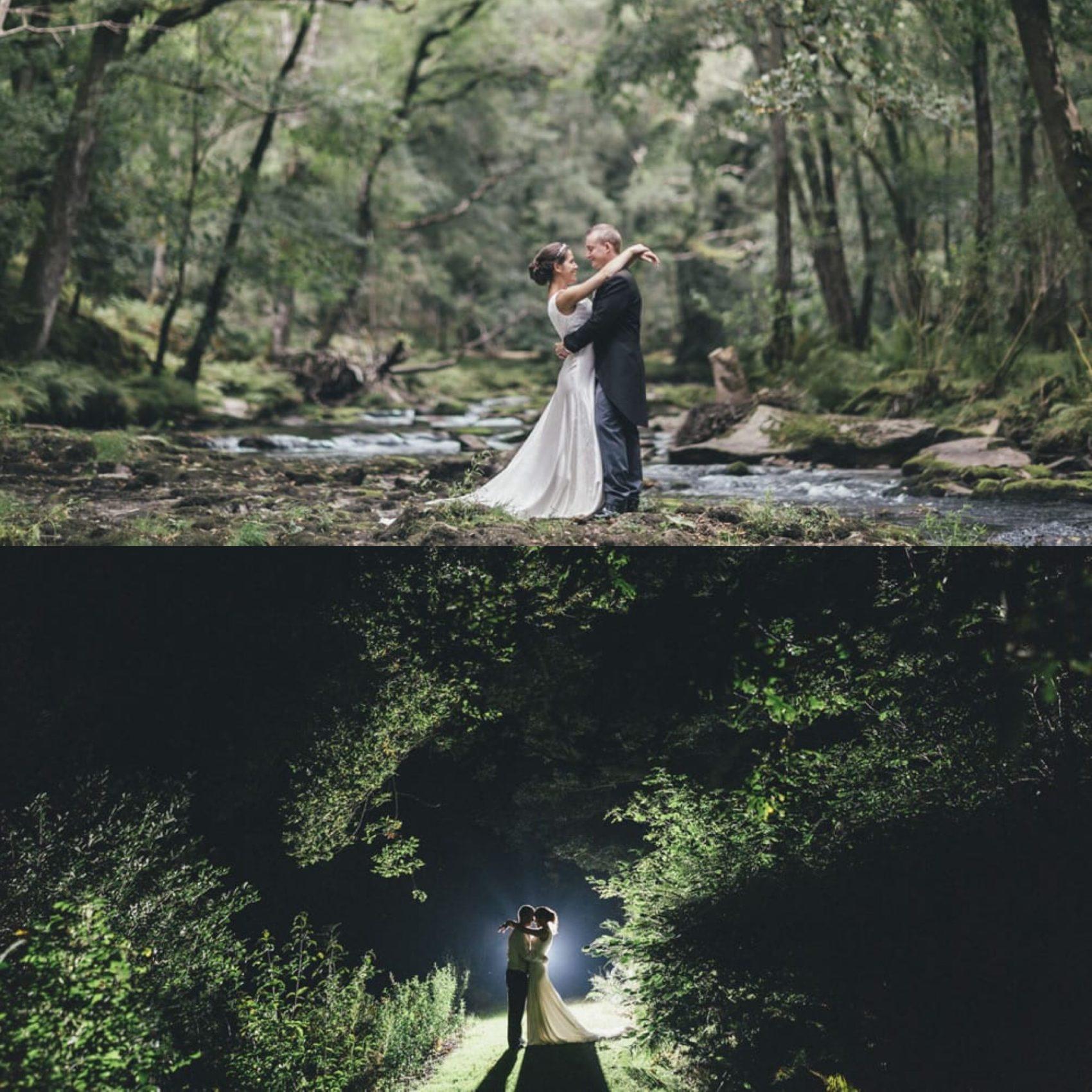 Woodland, moody, night, lighting, light, silhouette, river, wedding, bride & groom, ever after, lower grenofen, moonlight,