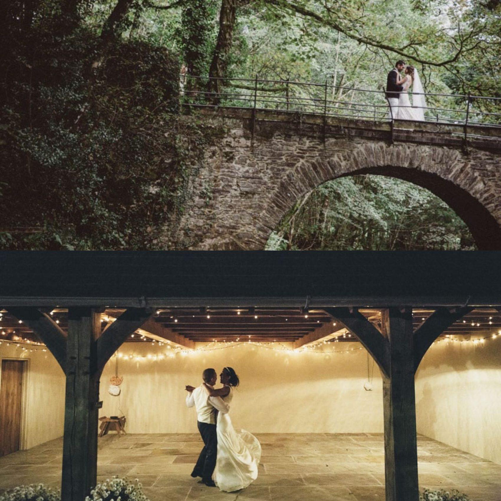 bride & groom, ever after, dancing, bridge, barn, lower grenofen, woodland, greenery, trees, fairy lights, love, happiness, river