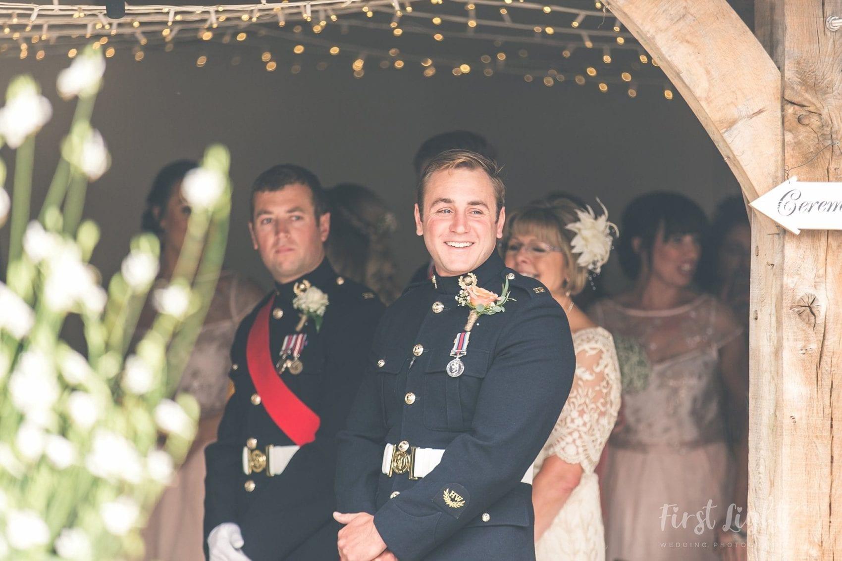 Groom, best man, ceremony, wedding, first light, ever after, wedding barn