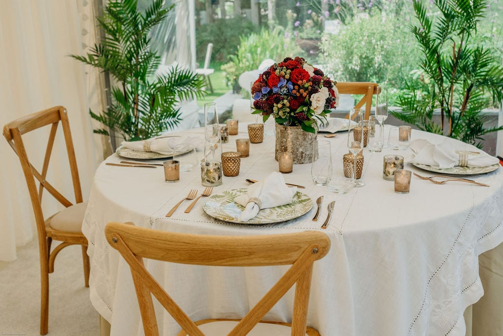 elopement wedding table set up