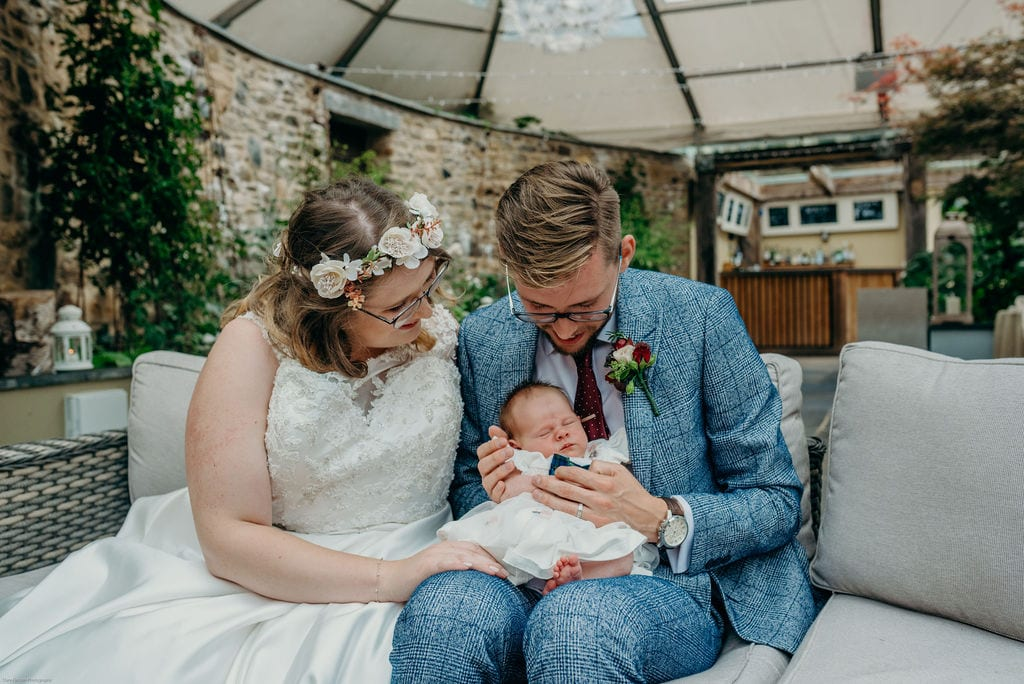 bride, groom & baby wedding photography