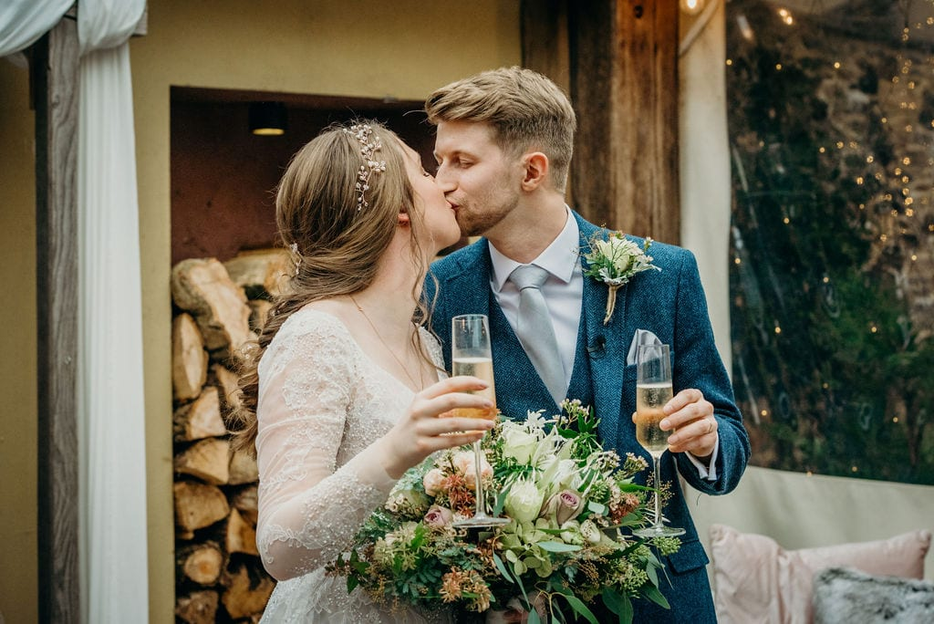 bride & groom champagne celebration