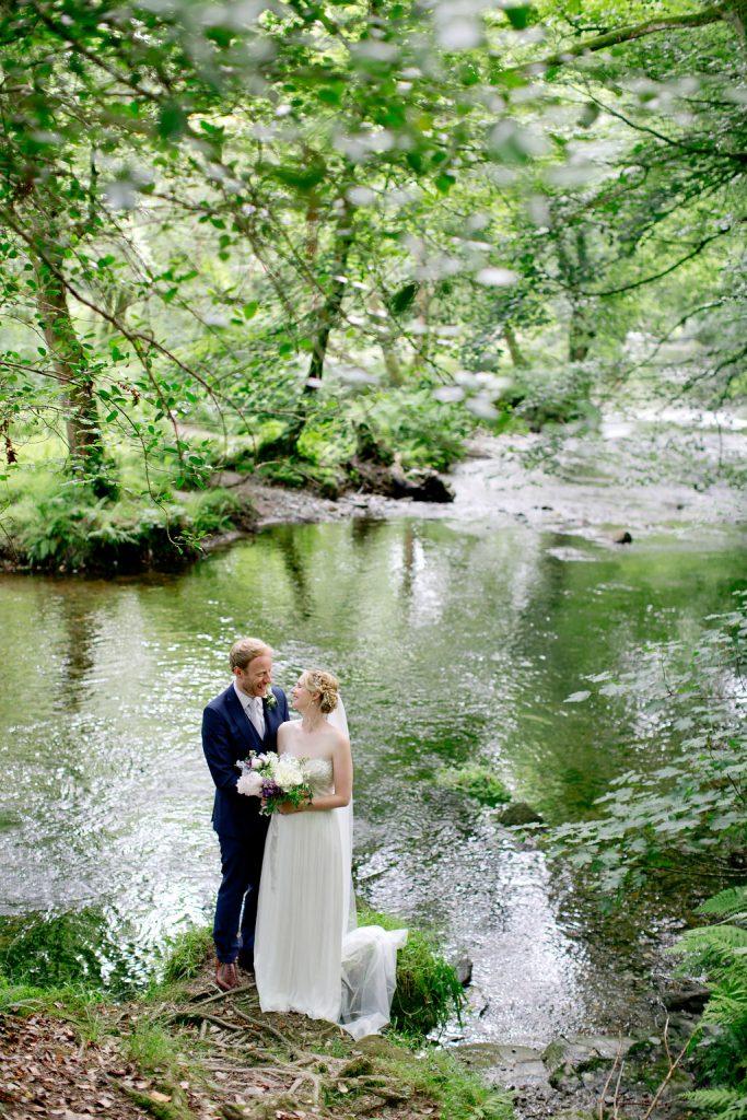 bride groom dartmoor river bank