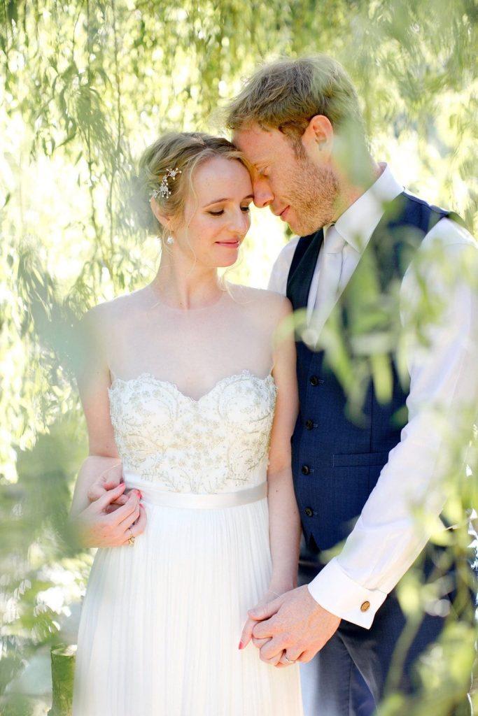 bride groom Dartmoor riverside willow tree