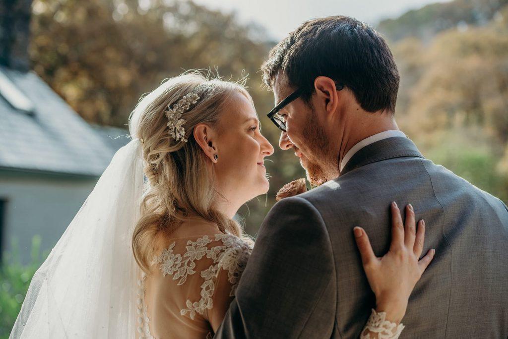 closeup rear head view bride groom