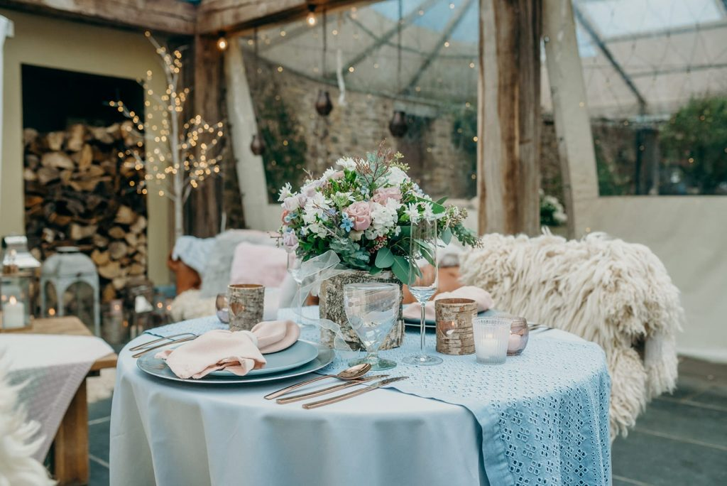 sweetheart wedding table pale pinks and blues