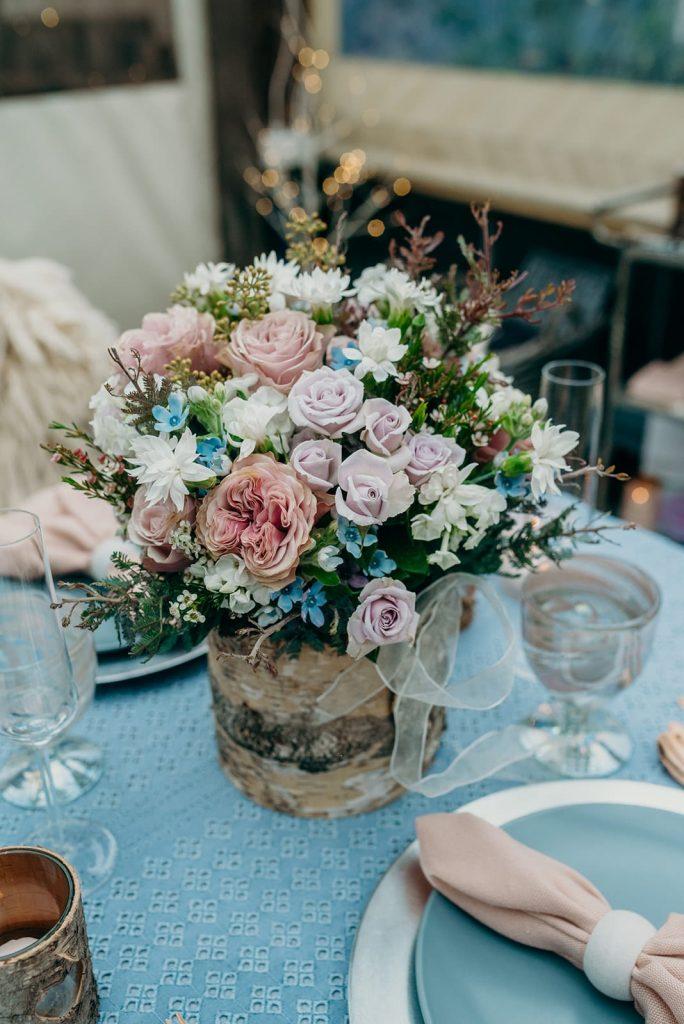 blush pink and blue bridal bouquet bark vase