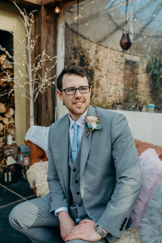 groom sitting waiting for bride wedding ceremony
