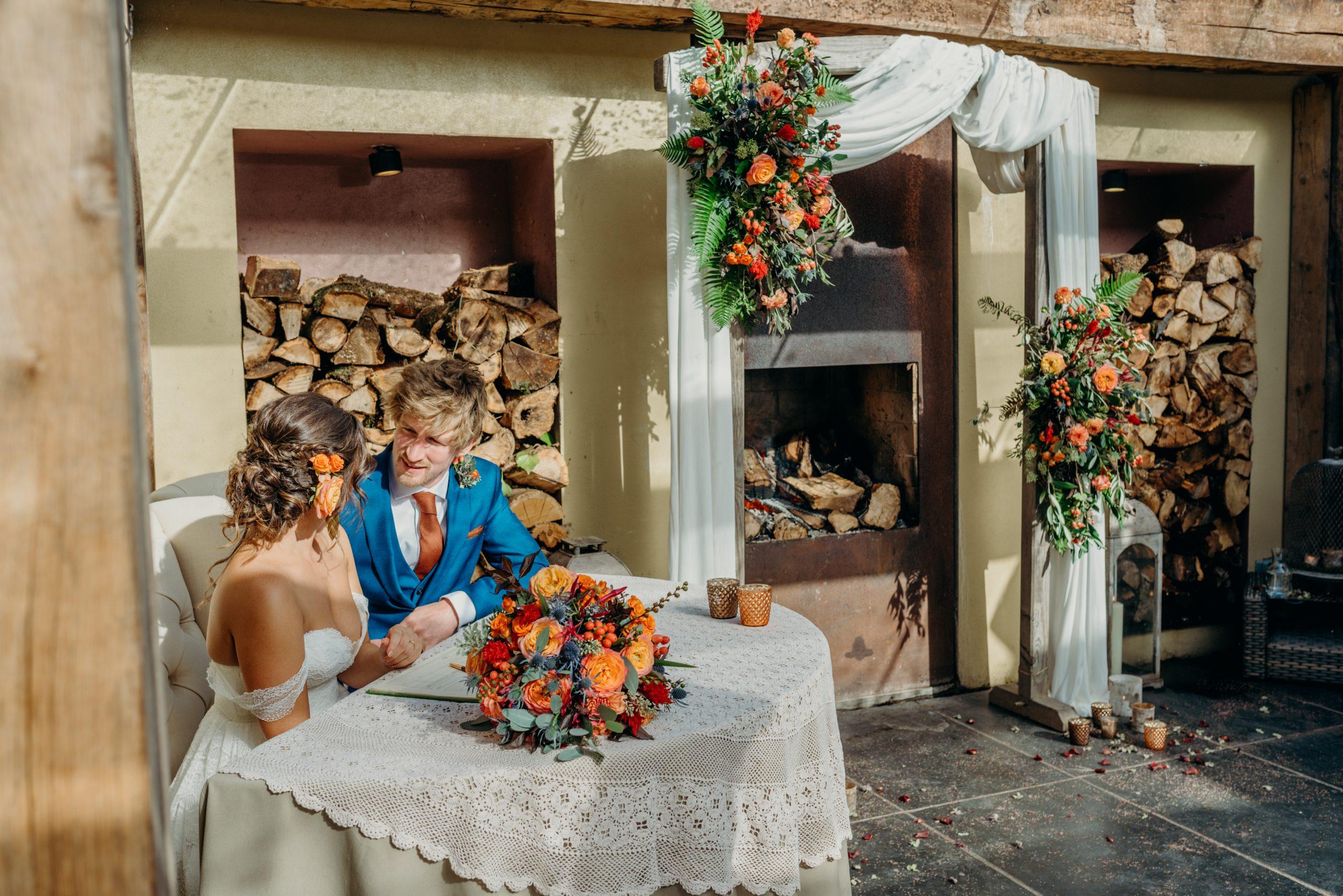 bride & groom signing register