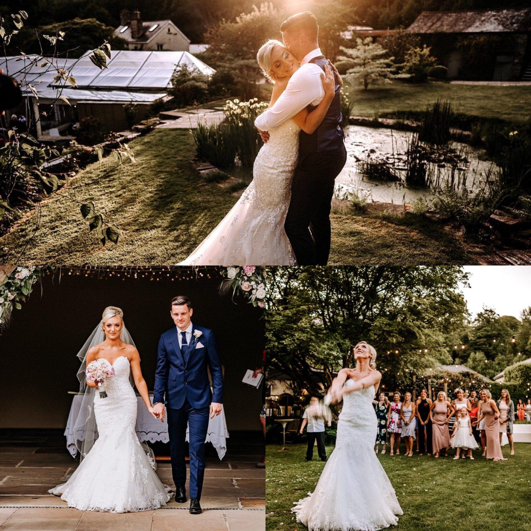 Couple, wedding, bridge & groom, pond, barn, flowers, bouquet toss, girls, ladies, guests, friends, veil, woodland, greenery, sunset, ever after, lower grenofen, dan ward, photography
