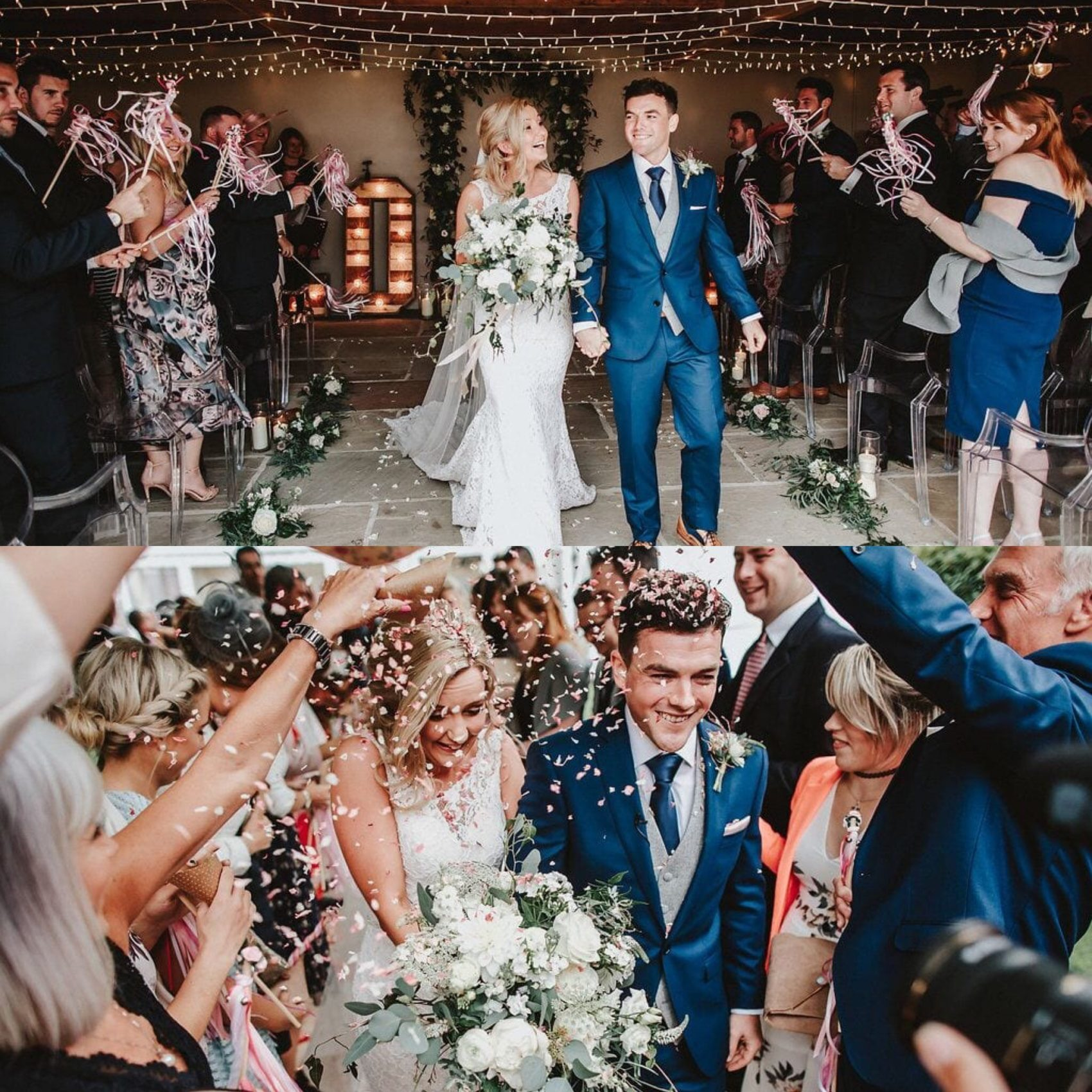 Wedding, barn, bride & groom, confetti, guests, flowers, batons, sparklers, fairy lights, ever after, couple, lower grenofen, photography, dan ward