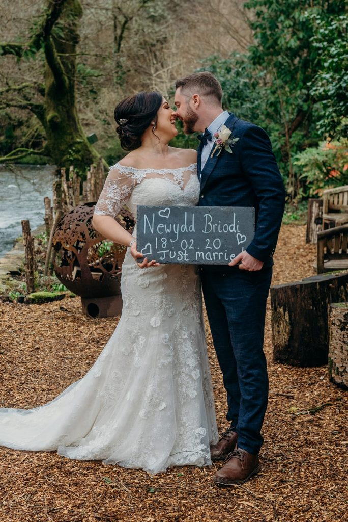 bride & groom wedding sign