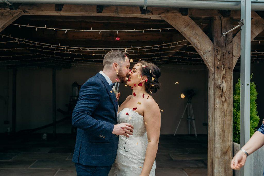 bride &groom confetti celebration