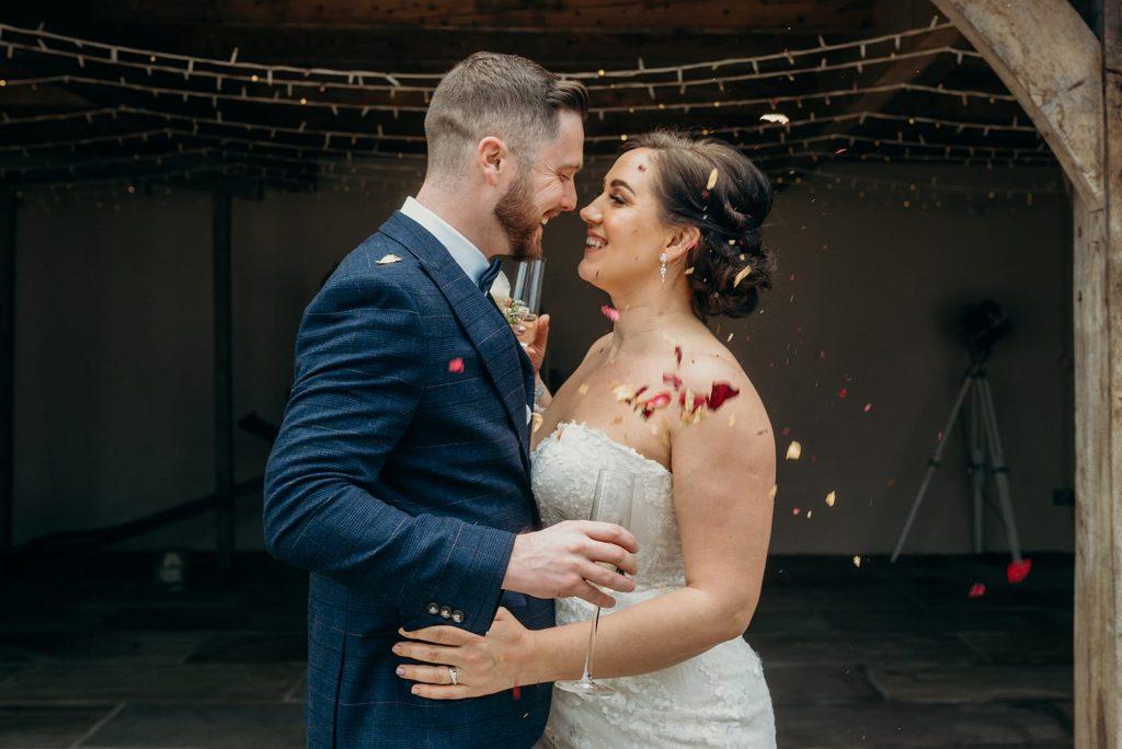 bride & groom confetti celebration