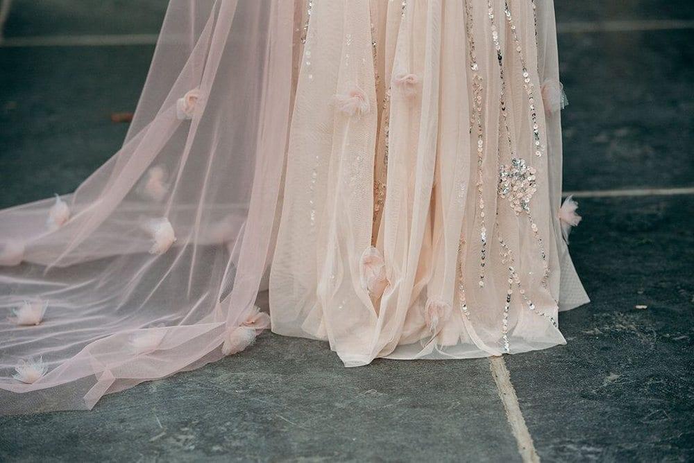 millennial pink blog post dress closeup