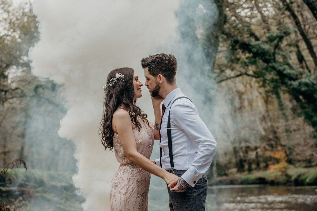 elopement emily and adam smoke special effect