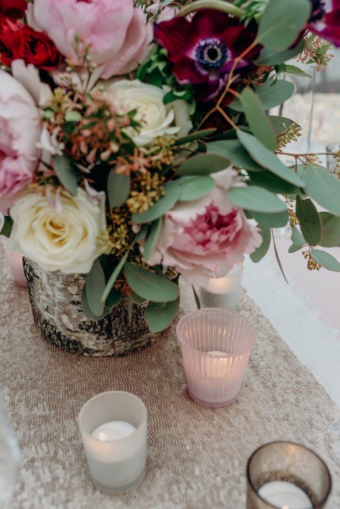 bridal bouquet blush pink dark anenome sequin runner tea lights