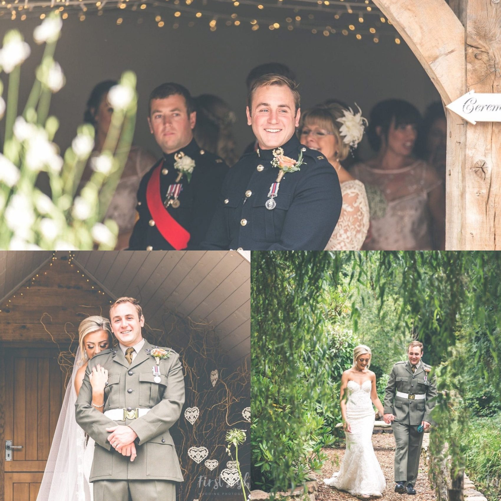 first light, light, airy, bright, filter, woodland, perspective, fairy lights, uniform, love, couple, bride & Groom,