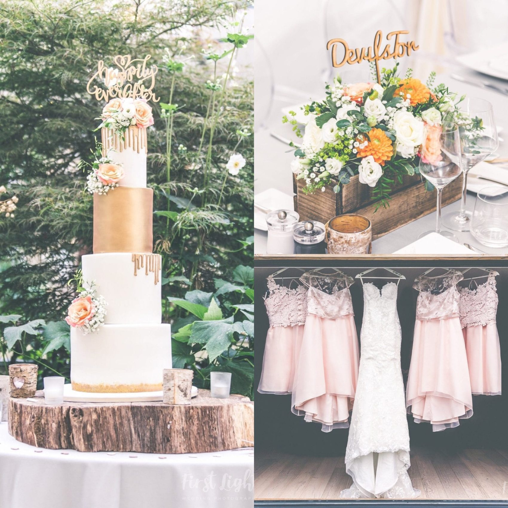 cake, dresses, flowers, details, close ups, bridesmaid, bride, wood, tiers, layers, gold, orange, pink, wedding, ever after, lower grenofen