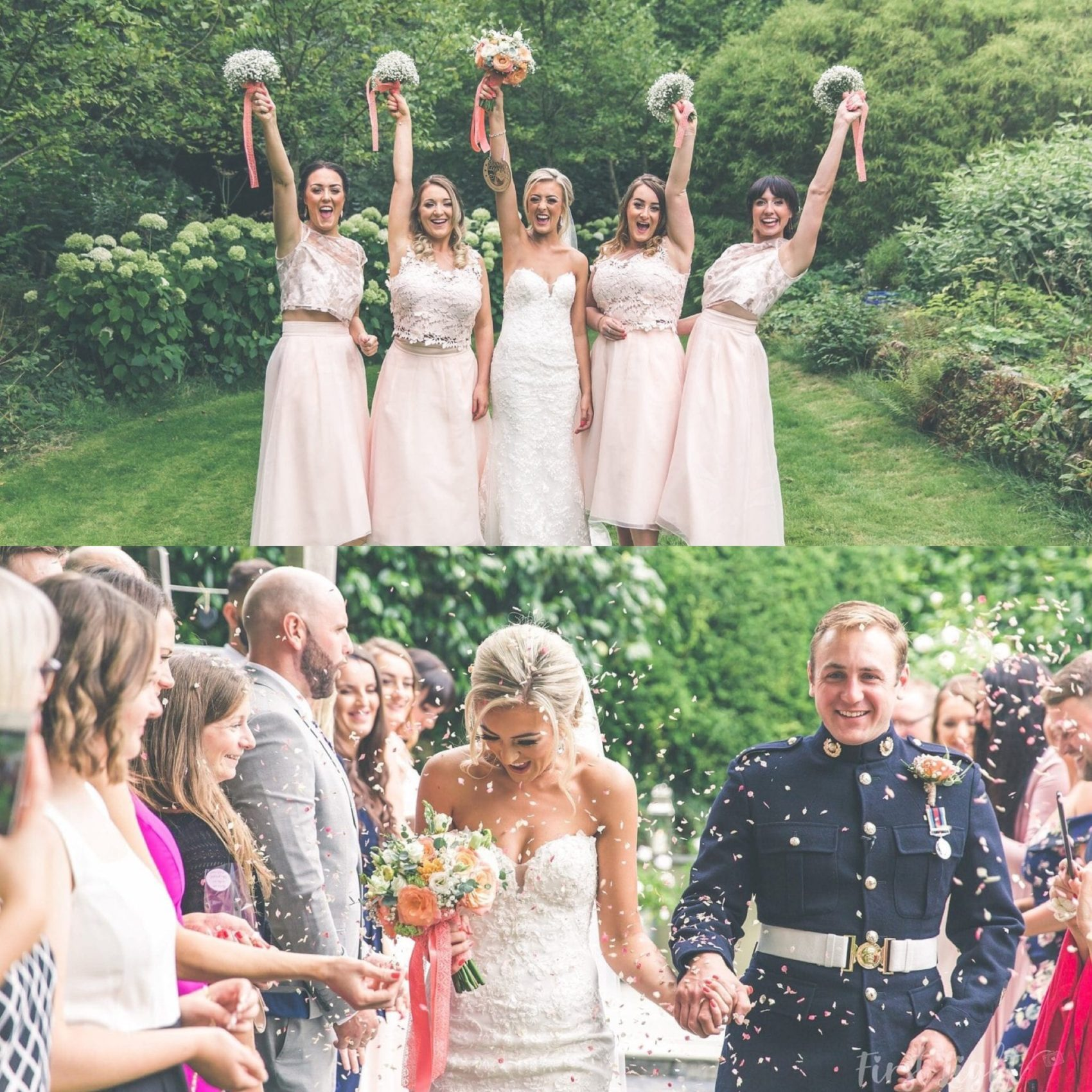 Bright, filter, light, airy, fairy, wedding party, wedding, guests, friends, confetti, shot, colour, coral, pacific, flowers, bridesmaids, bride & Groom, bride, ever after, lower grenofen