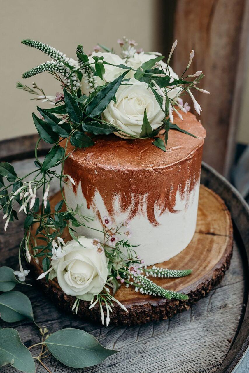 more cake elopement wedding cake inspiration ever after blog rose gold icing effect