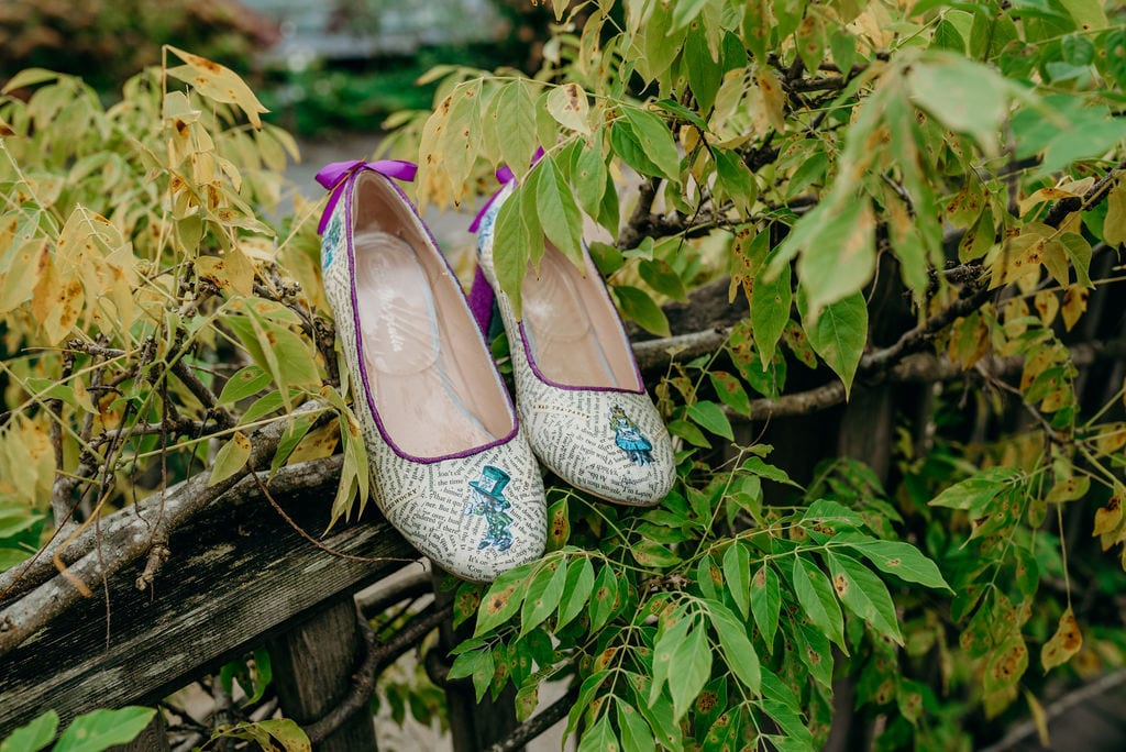 alice in wonderland decoupage wedding shoes