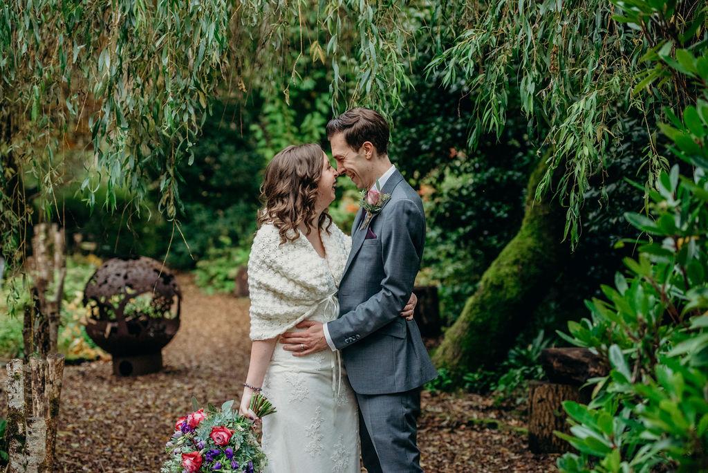 bride and groom outdoor wedding photography