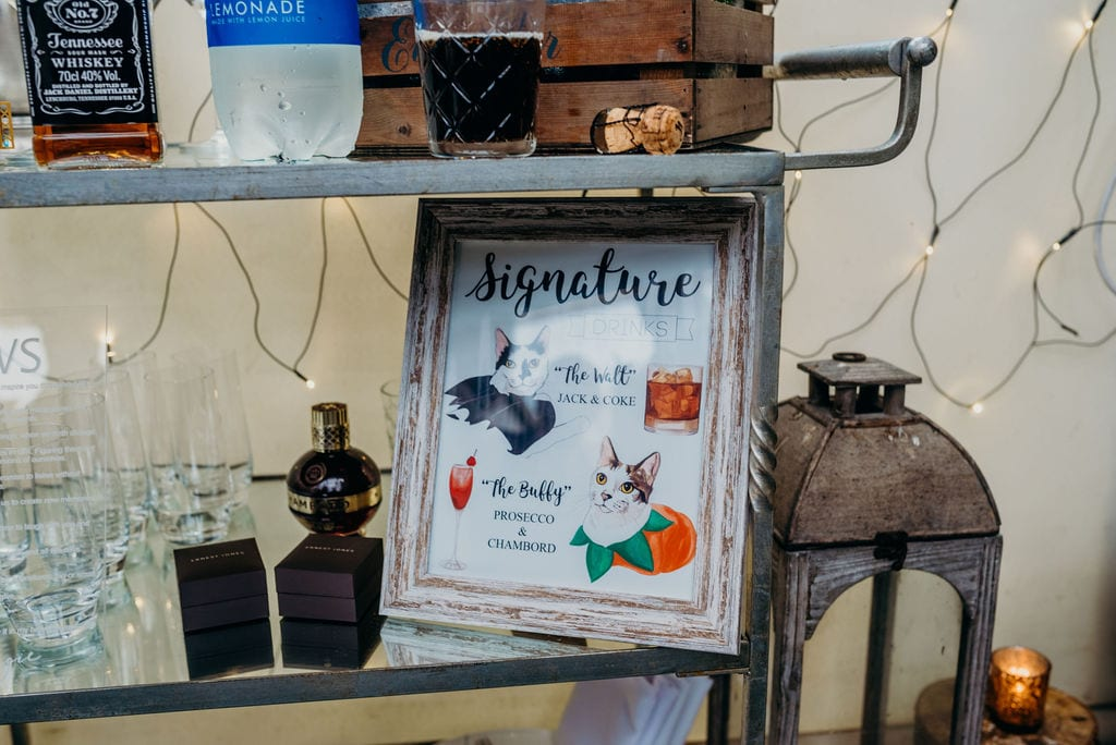 personalized drinks trolley sign