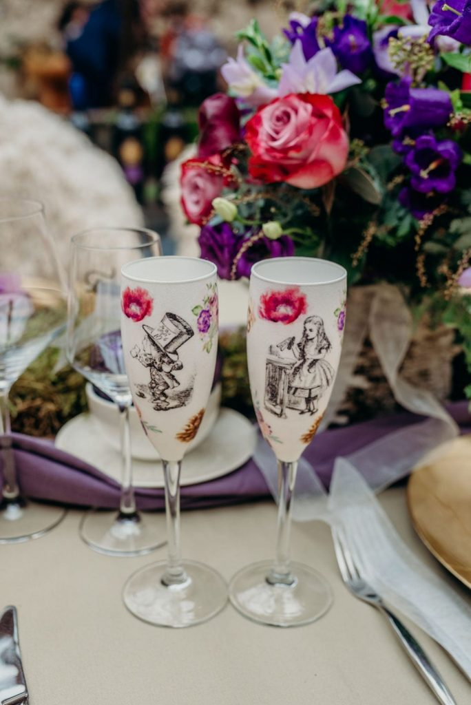 decoupage wedding champagne glasses