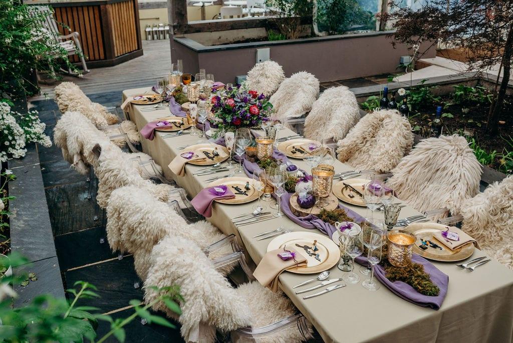 elopement wedding table set up