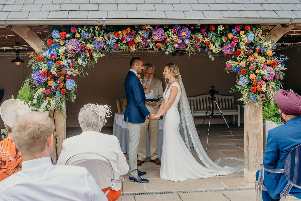 bride and groom barn ceremony