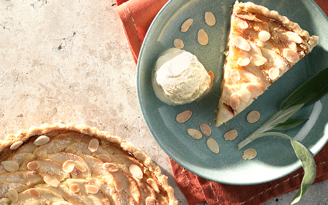 gin soaked apple & almond tart, recipe, craft gin club, one gin, sage & apple, ice cream
