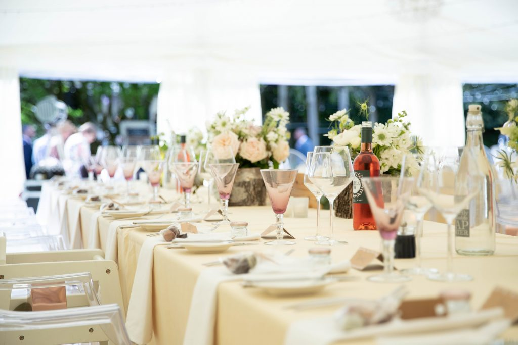 reception marquee set up