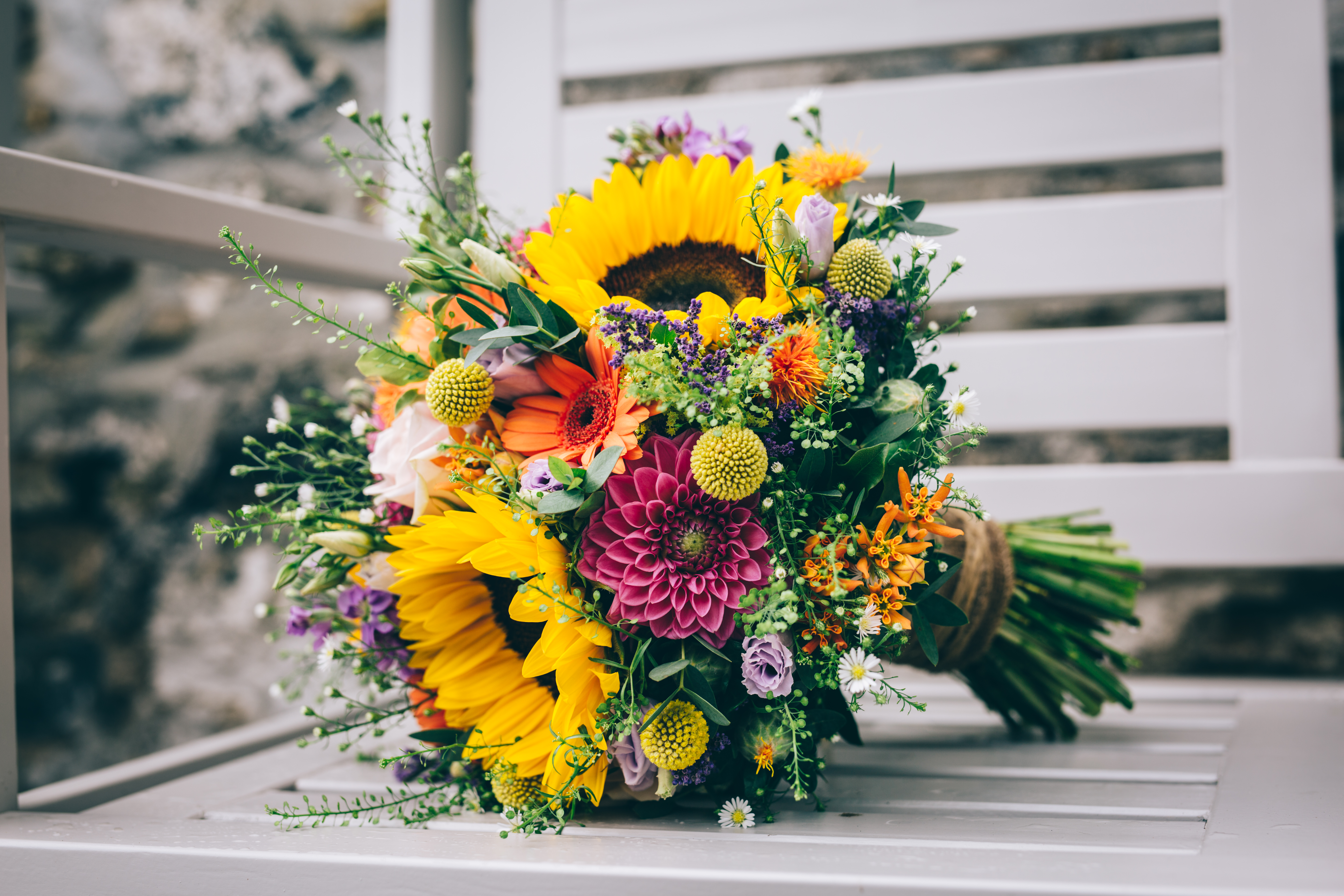 bouquet, tight, colourful, wild, rainbow, yellow, pink, purple, green, orange