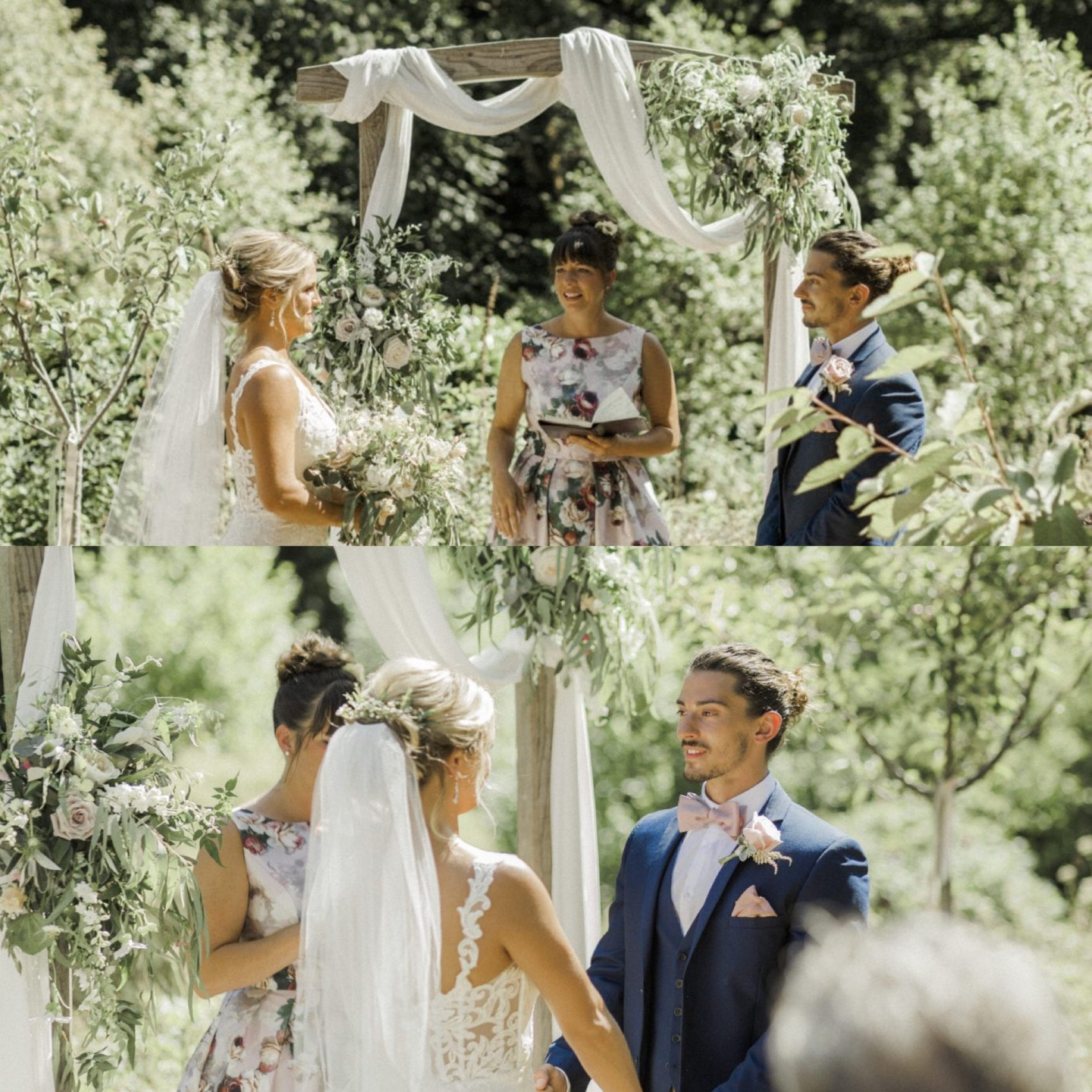 humanist ceremony, non legal, orchard, summer, ever after, lower grenofen, arch, white material, bride & groom