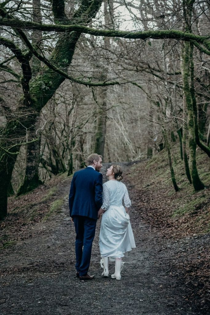 February wedding at Ever After. Elopement wedding love in the heart of Dartmoor.