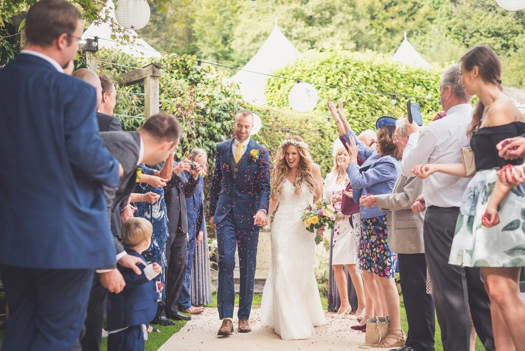 wedding, confetti, throw, guests, celebration, post ceremony, ever after, happy, smiles
