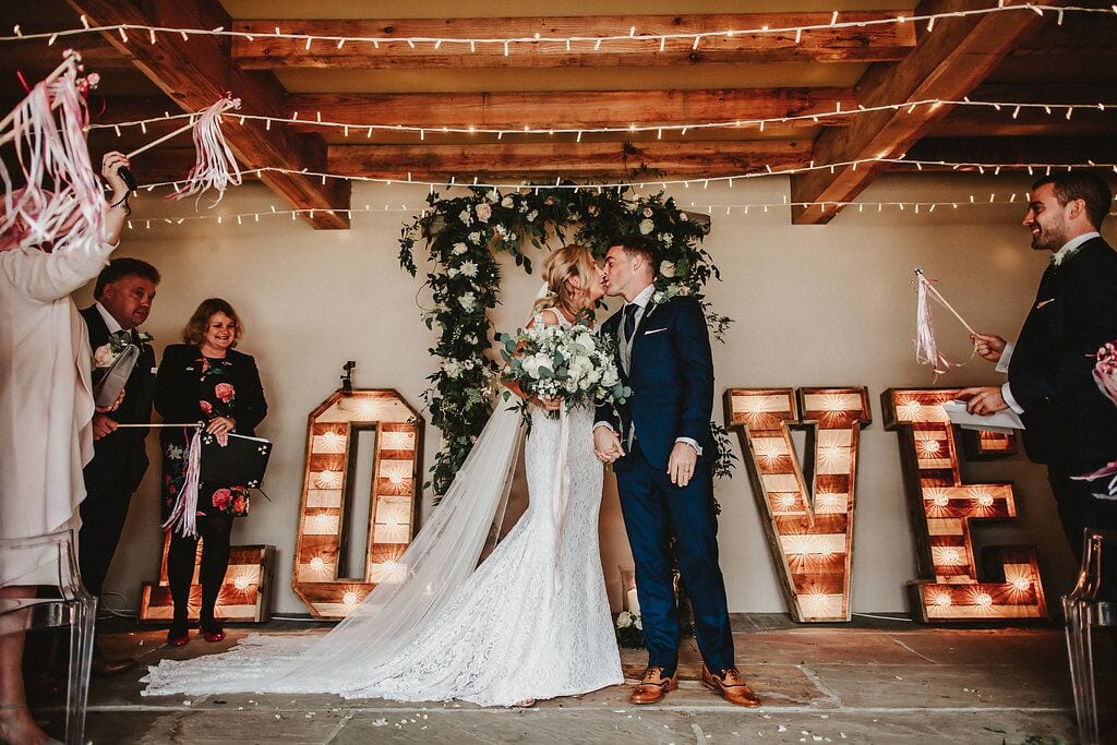 legal ceremony, ever after, bride and groom, vows, love, kiss, streamers